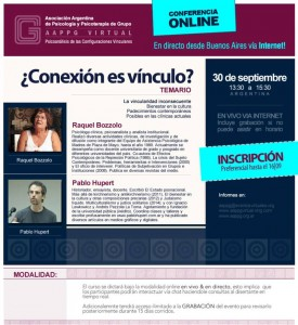 Flyer para conferencia Raquel Bozzolo - Pablo Hupert