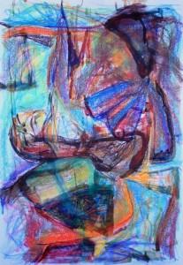 Retrato a Lucía (mirando a Pollock), pastel tiza 70x100cms