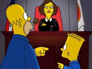 Bart y Simpson ante la jueza para taller